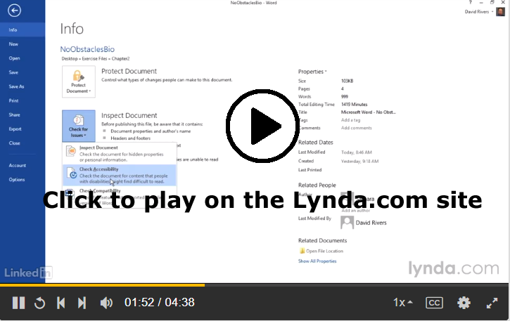 Screenshot of Lynda.com lesson on checking accessibility in Microsoft Word