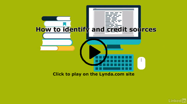 Screenshot of Lynda.com session, How to identify and credit sources